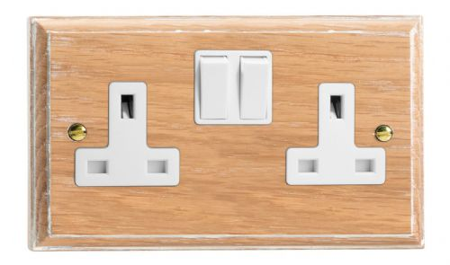 Varilight XK5LOW Kilnwood Limed Oak 2 Gang Double 13A Switched Plug Socket